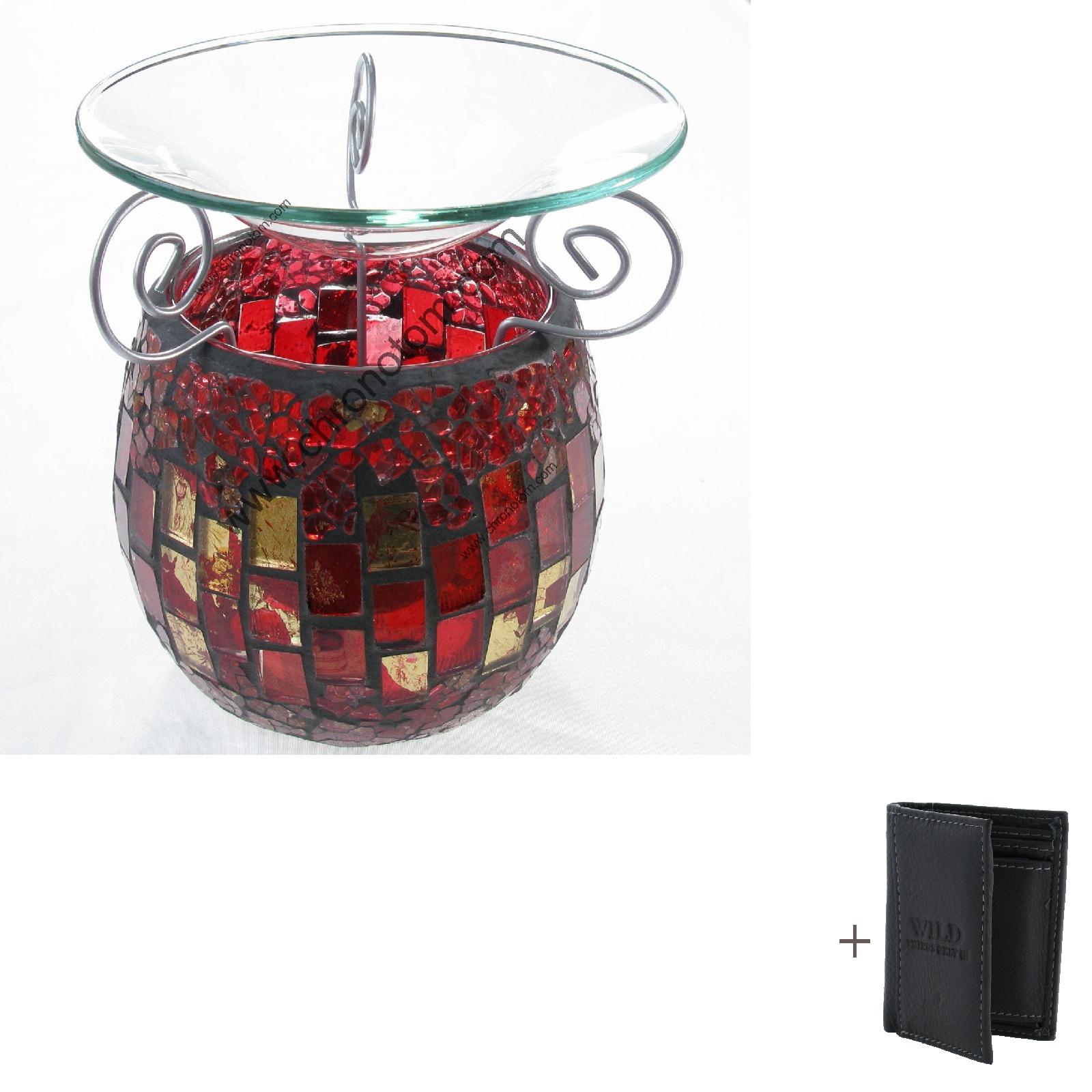 d ft l aromalampe mosaik llampe deko glas rot duftlampe. Black Bedroom Furniture Sets. Home Design Ideas