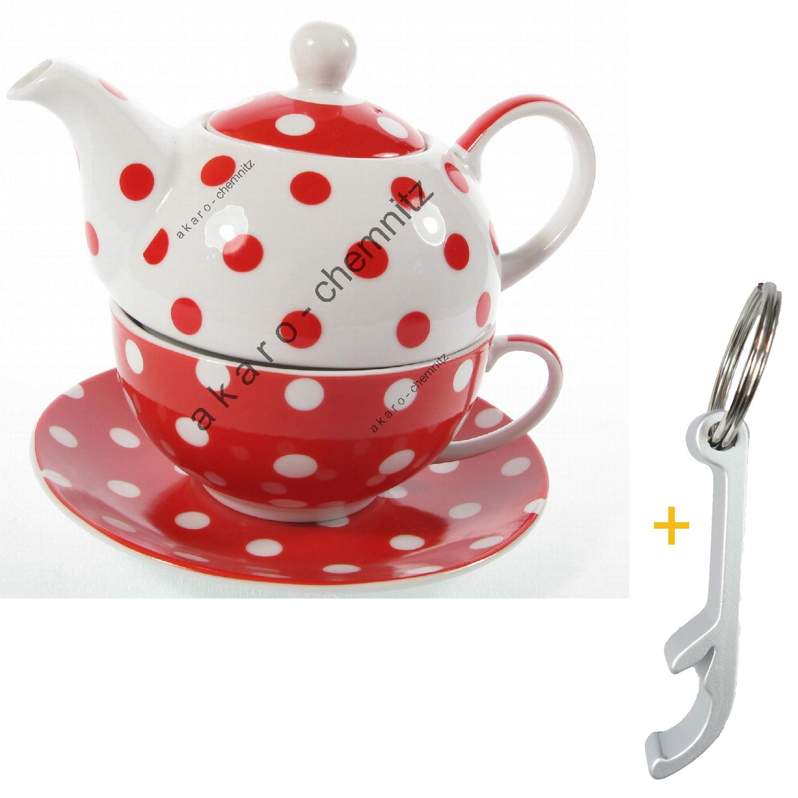 rot tea for one teekanne punkte kanne weiss set 4334 tasse 2 in 1 porzellan ebay. Black Bedroom Furniture Sets. Home Design Ideas